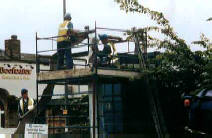Using a scaffold tower to invert a CIPP lining. Picture courtesy of Onsite